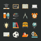 Education icons with black background Stock Photos
