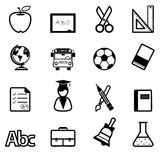 Education Icons black  Stock Photography