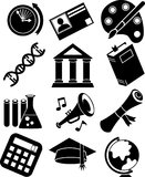 Education Icons - Black and White Stock Images