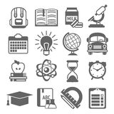 Education icons black and white Stock Photography