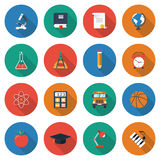 Education icons. Collection of elements and symbols of learning, education, knowledge. colorful flat icons with shadow  on white background. Vector Royalty Free Stock Photos