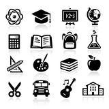 Education Icons. Collection of icons representing education, school and students Stock Image
