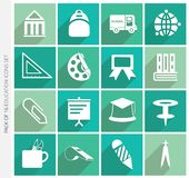 Education icons collection with shadow in trendy flat style isolated on colorful background. royalty free stock photos