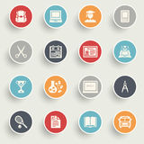 Education icons with color buttons on gray background. Stock Photography