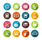 Education Icons In Flat Design. Collection of education icons in flat design style Royalty Free Stock Images