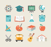 Education Icons in Flat Design Style Royalty Free Stock Images