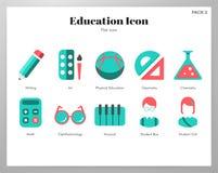 Education icons flat pack stock illustration
