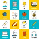 Education Icons Flat Royalty Free Stock Image