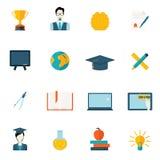 Education icons flat Stock Images