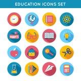 Education Icons Flat Set Stock Photography