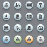 Education icons on gray background. Stock Photos