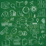 Education icons on green board Royalty Free Stock Image