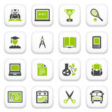 Education icons. Green gray series. Royalty Free Stock Image
