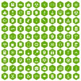 100 education icons hexagon green. 100 education icons set in green hexagon isolated vector illustration Stock Images