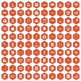 100 education icons hexagon orange. 100 education icons set in orange hexagon isolated vector illustration Royalty Free Stock Photography