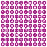100 education icons hexagon violet. 100 education icons set in violet hexagon isolated vector illustration royalty free illustration