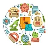 Education icons illustation Royalty Free Stock Photo
