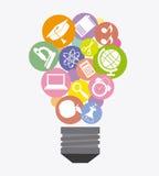 Education icons. Inside a light bulb vector illustration