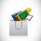 Education icons inside a shopping bag. Stock Images