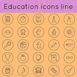 Education icons line 02. Education icons set of thin line. learning, education, knowledge. Modern minimalistic flat design. Vector illustration Royalty Free Stock Photography