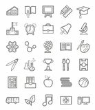 Education, icons, linear, grey outline, white background. Stock Photo