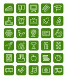 Education, icons, linear, white outline, green background. Stock Photography