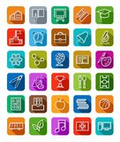 Education, icons, linear, white outline, solid color. Royalty Free Stock Images