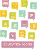 Education icons. NSet of education icons in flat colorful stylen Stock Photo