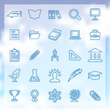 25 education icons. 25 outline, thin education icons Stock Photo