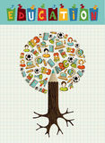 Education icons pencil tree. stock images