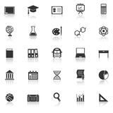 Education icons with reflect on white background Royalty Free Stock Photo
