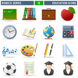 Education Icons - Robico Series. Collection of 16 colorful education and school icons, isolated on white background. Robico Series: check my portfolio for the royalty free illustration