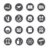 Education icons, round buttons Stock Images