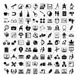 Education icons, school icons. Set of 100 back to school icons, education icons set Royalty Free Stock Photo