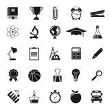 Education icons. Science. Education icons. Black icons on white background. Elements and objects education, training of teaching. University and school. Science Royalty Free Stock Photos