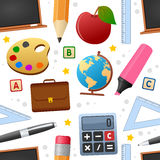 Education Icons Seamless Pattern. A seamless pattern with colorful education and school icons, on white background. Eps file available Stock Image