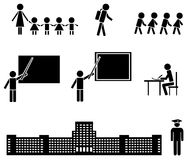 Education icons set. Set of black icons. Education at the elementary, high school and university Royalty Free Stock Photo