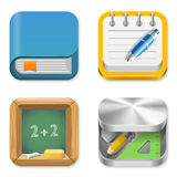 Education Icons set. Book, Notepad, Balckboard, Pencil box Stock Photography