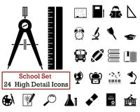 24 Education Icons. Set of 24 Education Icons in Black Color Royalty Free Stock Image