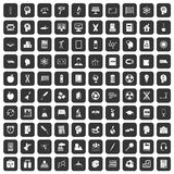 100 education icons set black. 100 education icons set in black color isolated vector illustration Royalty Free Stock Photos