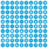 100 education icons set blue. 100 education icons set in blue hexagon isolated vector illustration royalty free illustration