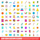 100 education icons set, cartoon style. 100 education icons set in cartoon style for any design vector illustration Stock Photos