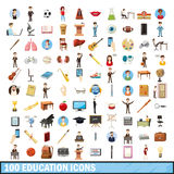 100 education icons set, cartoon style Royalty Free Stock Photo