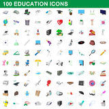 100 education icons set, cartoon style. 100 education icons set in cartoon style for any design vector illustration Stock Image