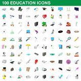 100 education icons set, cartoon style. 100 education icons set in cartoon style for any design illustration vector illustration