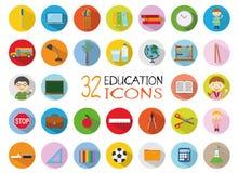 32 Education Icons Set. Colorful, flat style  Illustration Royalty Free Stock Photography
