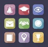 Education icons set. Education set of icons on a dark background Stock Photography