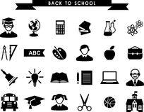 Education icons. Set of education icons in flat black and white style Royalty Free Stock Photos