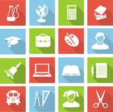 Education icons. Set of education icons in flat colorful style Stock Photography
