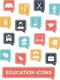 Education icons. Set of education icons in flat colorful style Stock Photo